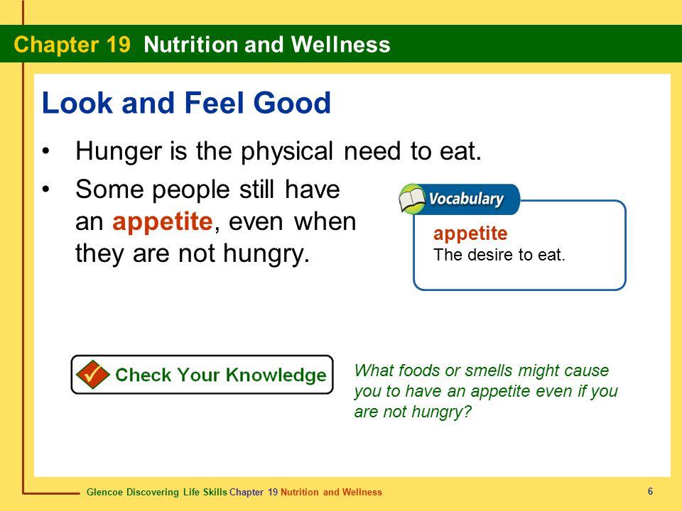 Look and Feel Good Hunger is the physical need to eat.