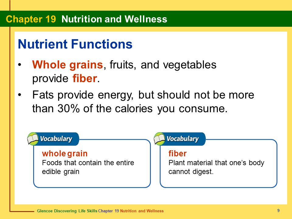 Nutrient Functions Whole grains, fruits, and vegetables provide fiber.