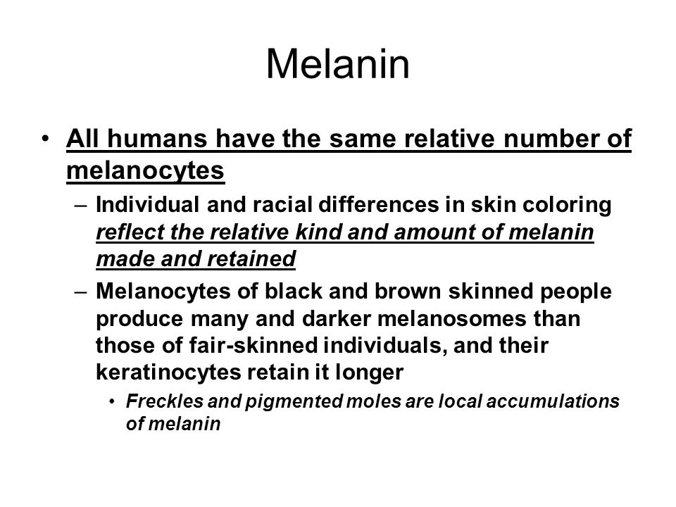 Melanin All humans have the same relative number of melanocytes