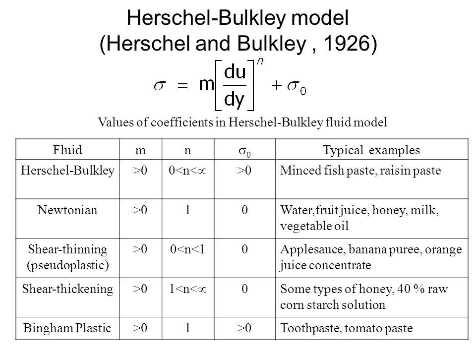 Herschel-Bulkley model (Herschel and Bulkley , 1926)