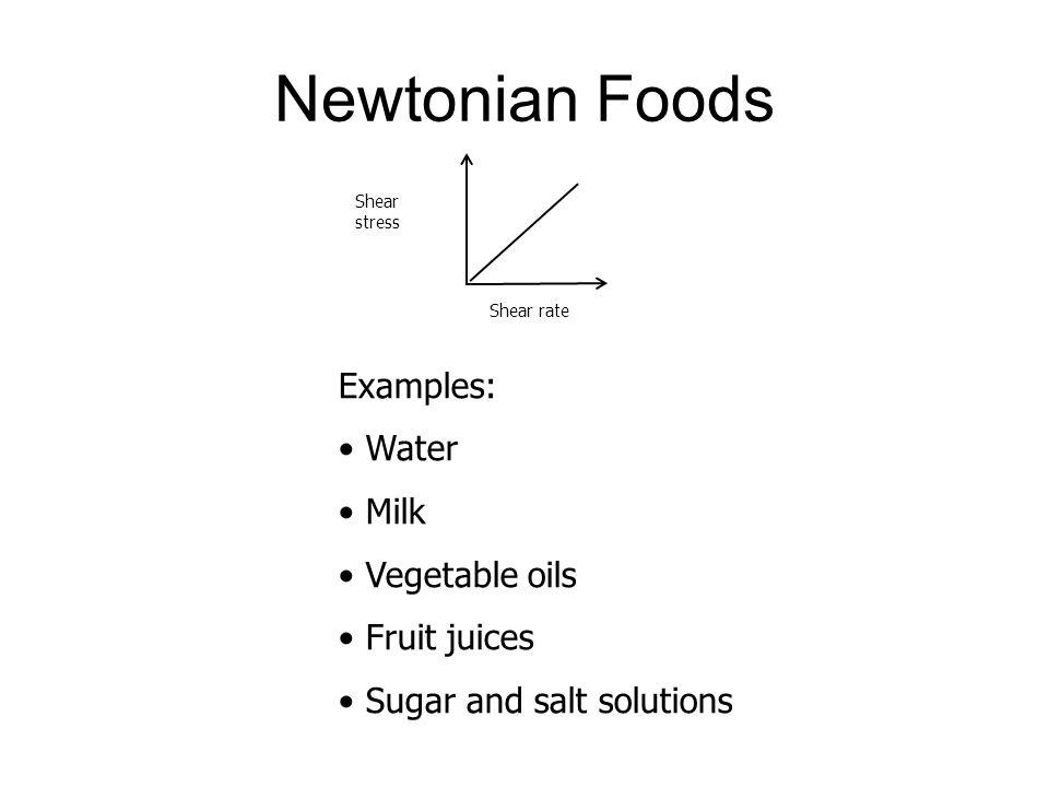 Newtonian Foods Examples: Water Milk Vegetable oils Fruit juices