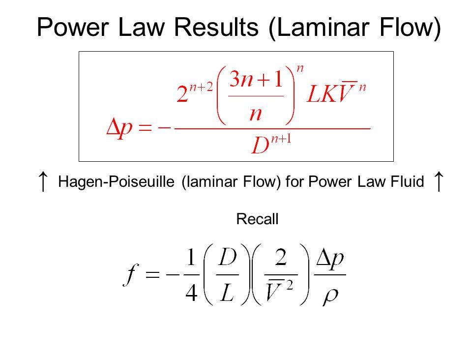↑ Hagen-Poiseuille (laminar Flow) for Power Law Fluid ↑
