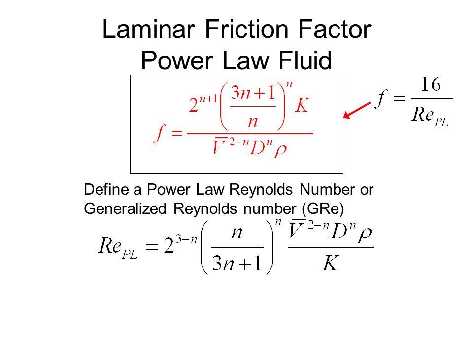 Laminar Friction Factor Power Law Fluid