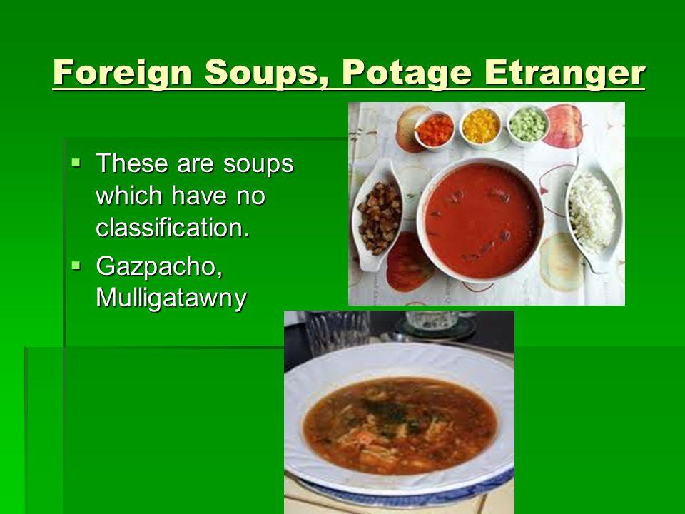 Foreign Soups, Potage Etranger