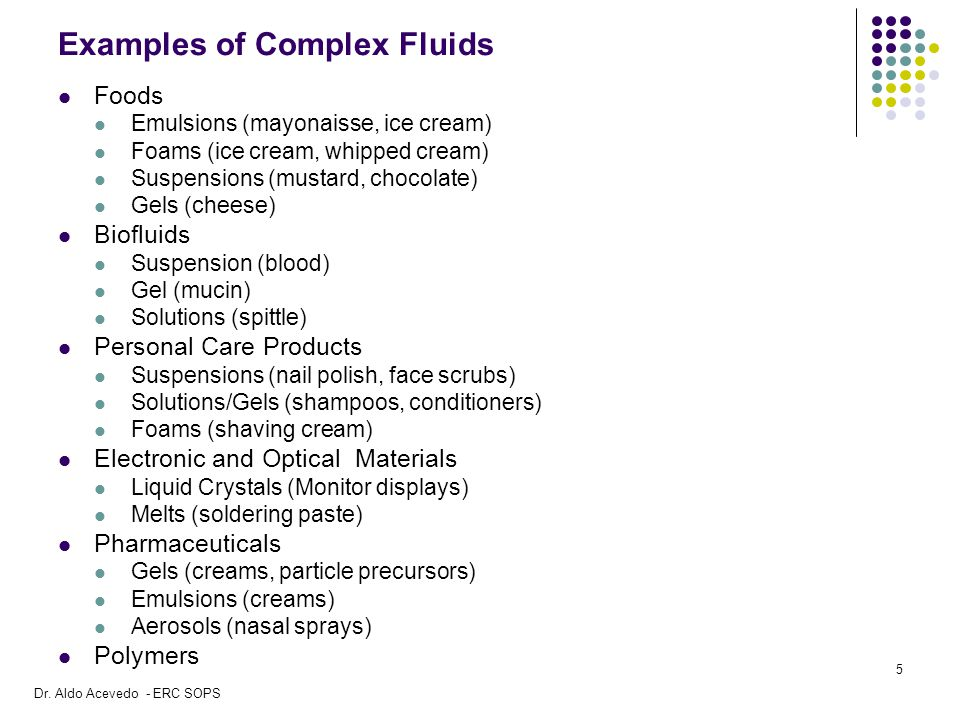 Examples of Complex Fluids