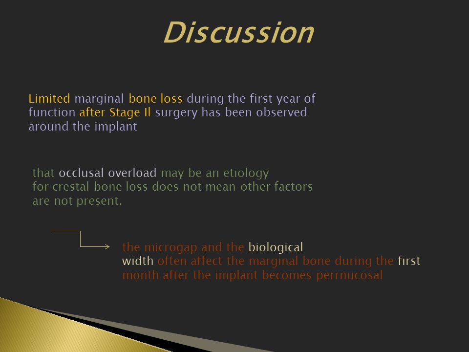 Discussion Limited marginal bone loss during the first year of