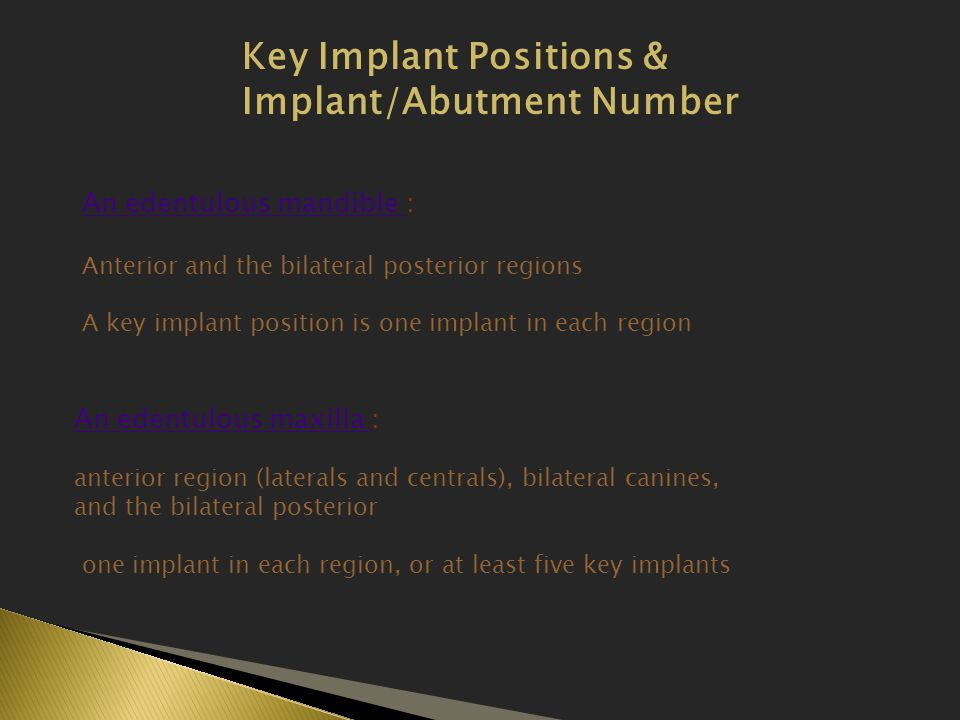 Key Implant Positions & Implant/Abutment Number