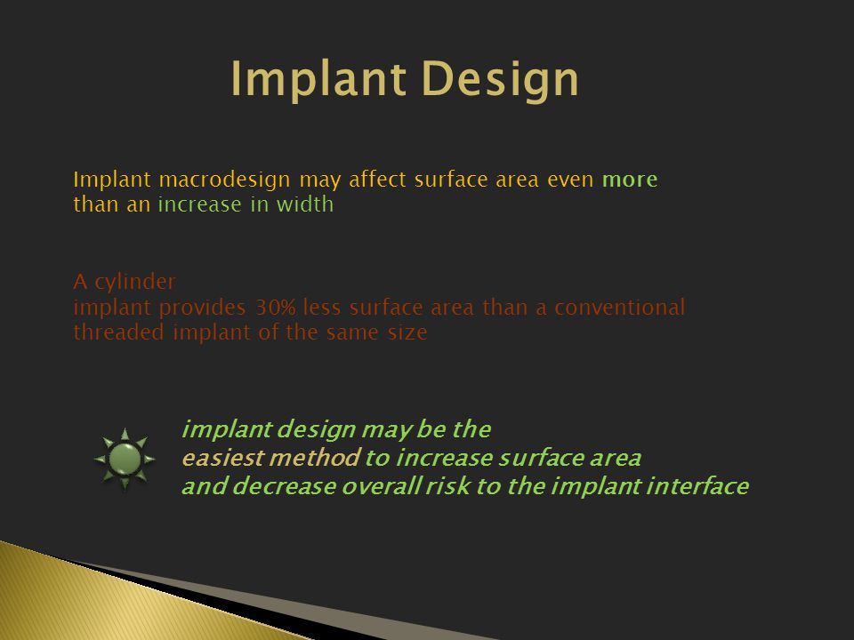 Implant Design implant design may be the