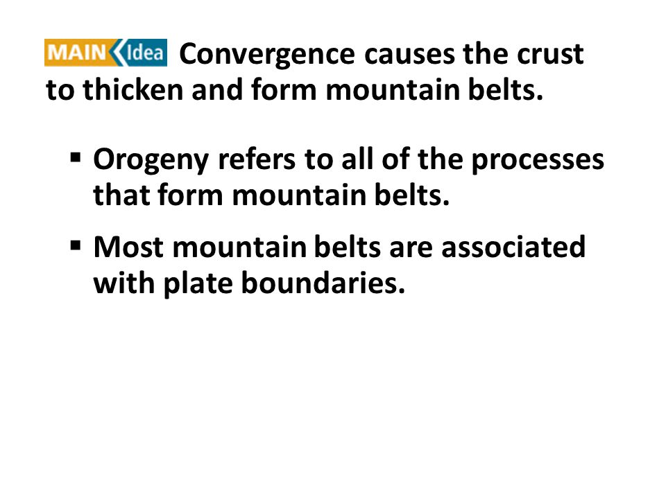 Orogeny refers to all of the processes that form mountain belts.