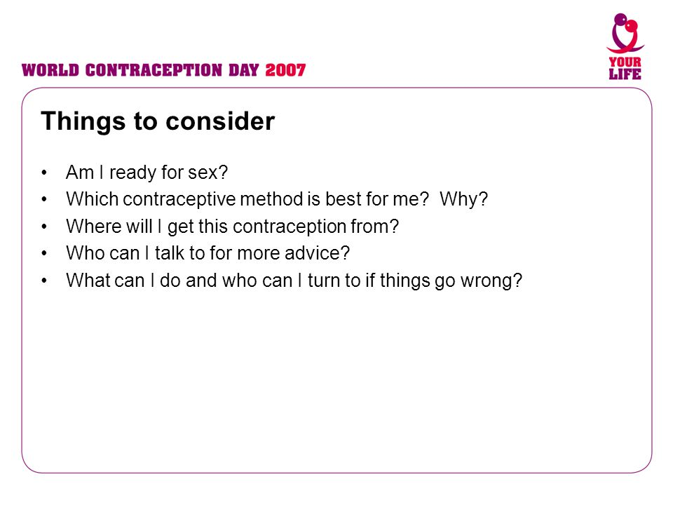 Things to consider Am I ready for sex
