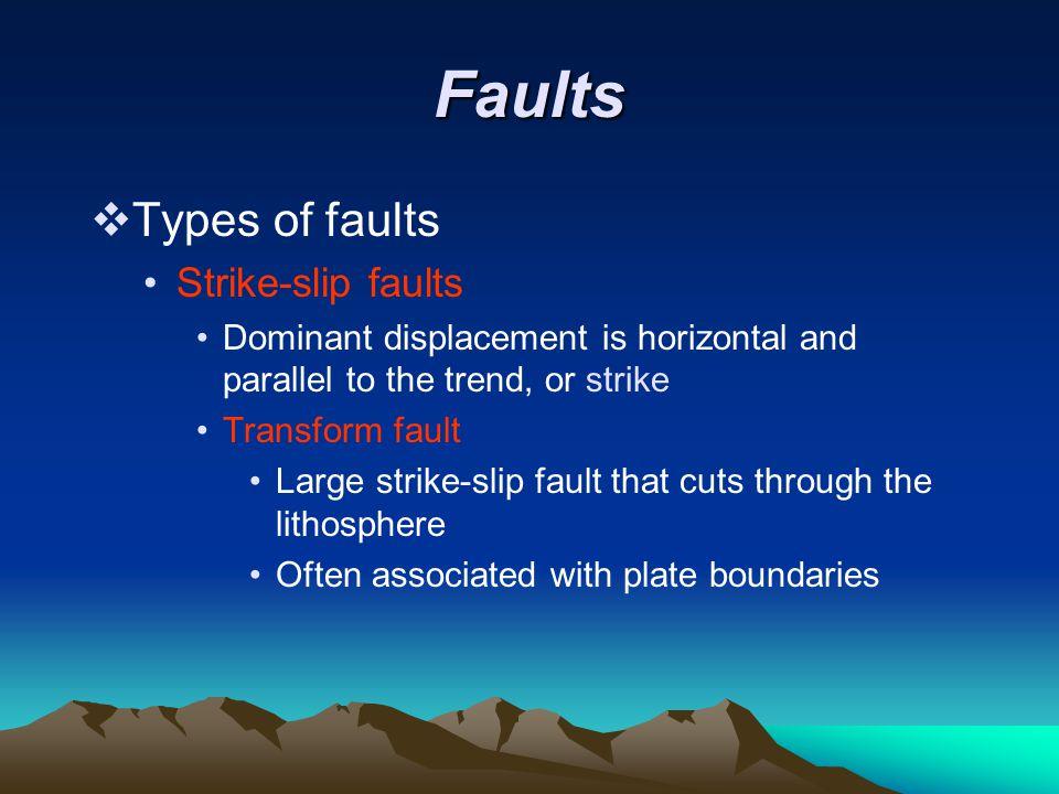 Faults Types of faults Strike-slip faults
