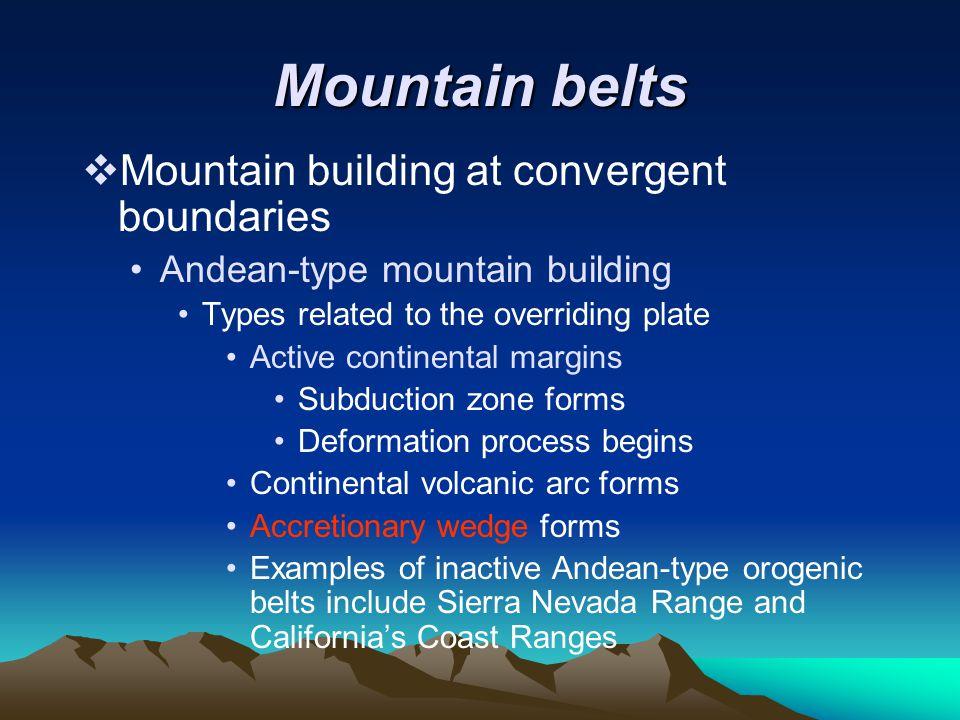 Mountain belts Mountain building at convergent boundaries