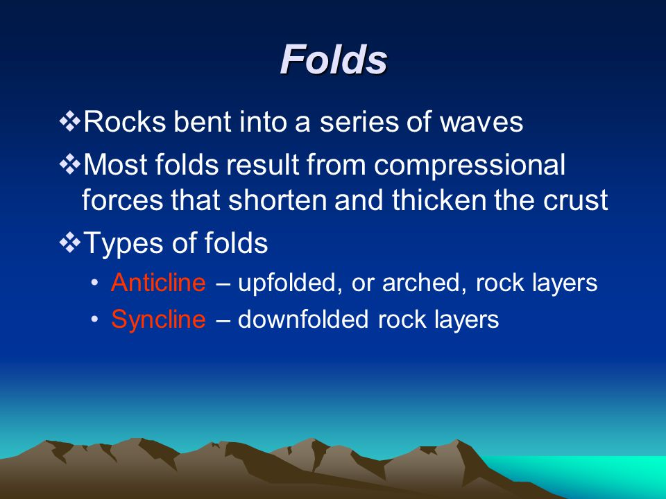 Folds Rocks bent into a series of waves