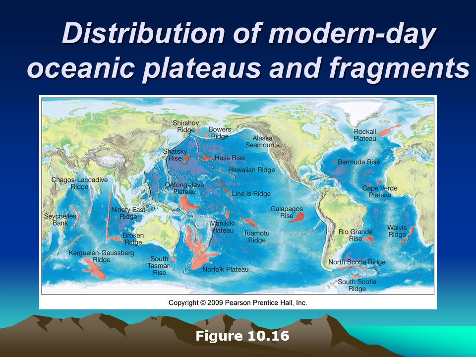 Distribution of modern-day oceanic plateaus and fragments