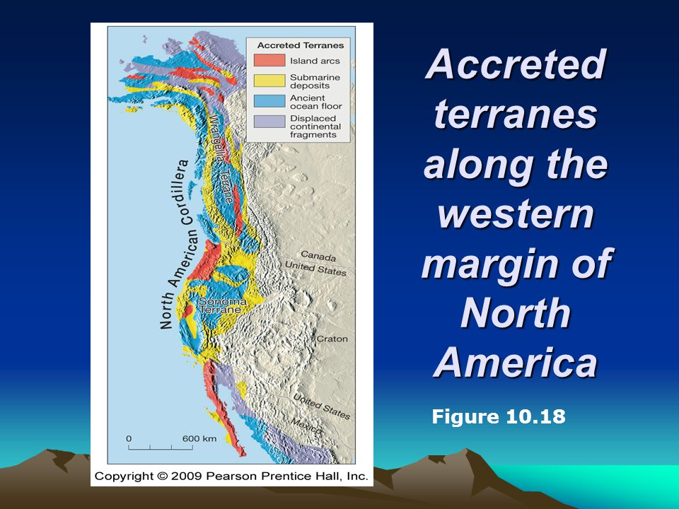Accreted terranes along the western margin of North America