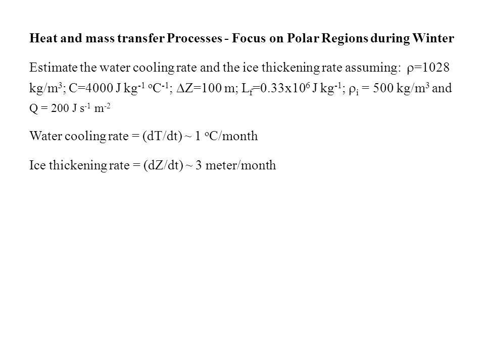 Heat and mass transfer Processes - Focus on Polar Regions during Winter