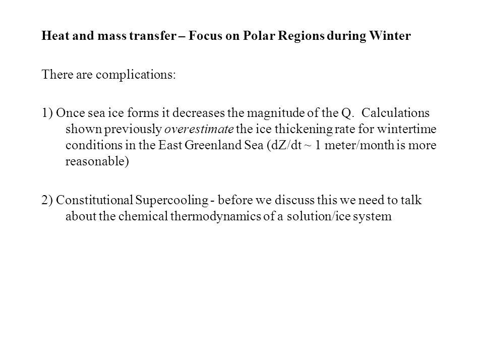Heat and mass transfer – Focus on Polar Regions during Winter
