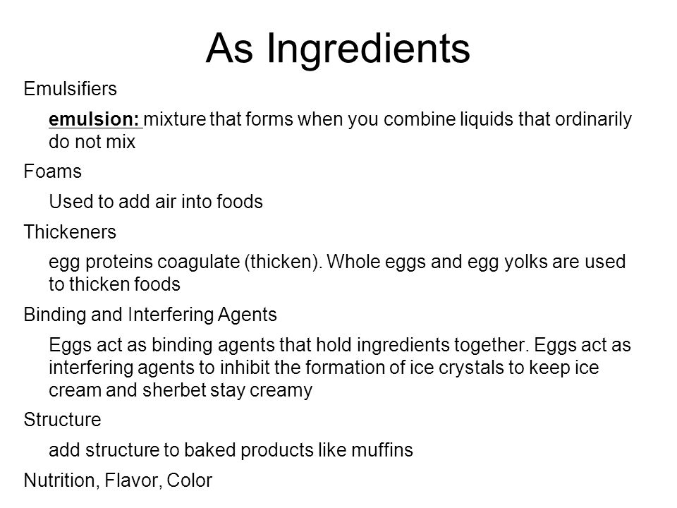 As Ingredients