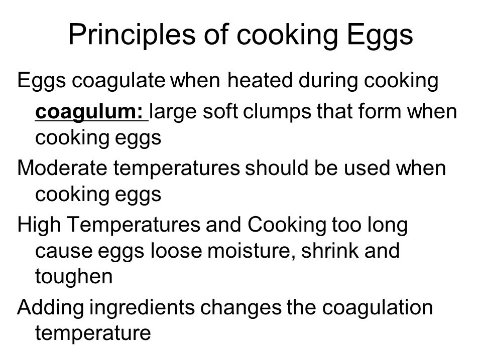 Principles of cooking Eggs