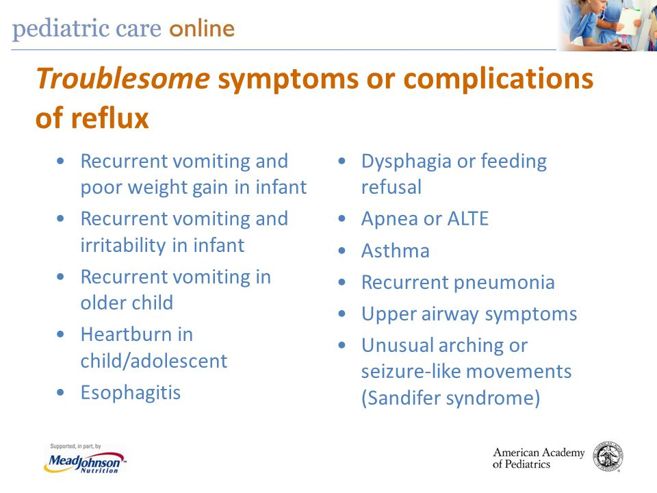Troublesome symptoms or complications of reflux