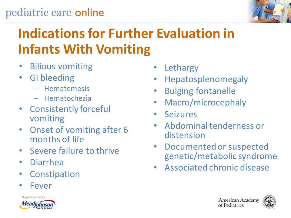 Indications for Further Evaluation in Infants With Vomiting
