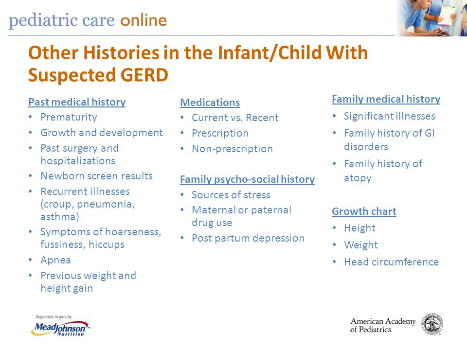 Other Histories in the Infant/Child With Suspected GERD