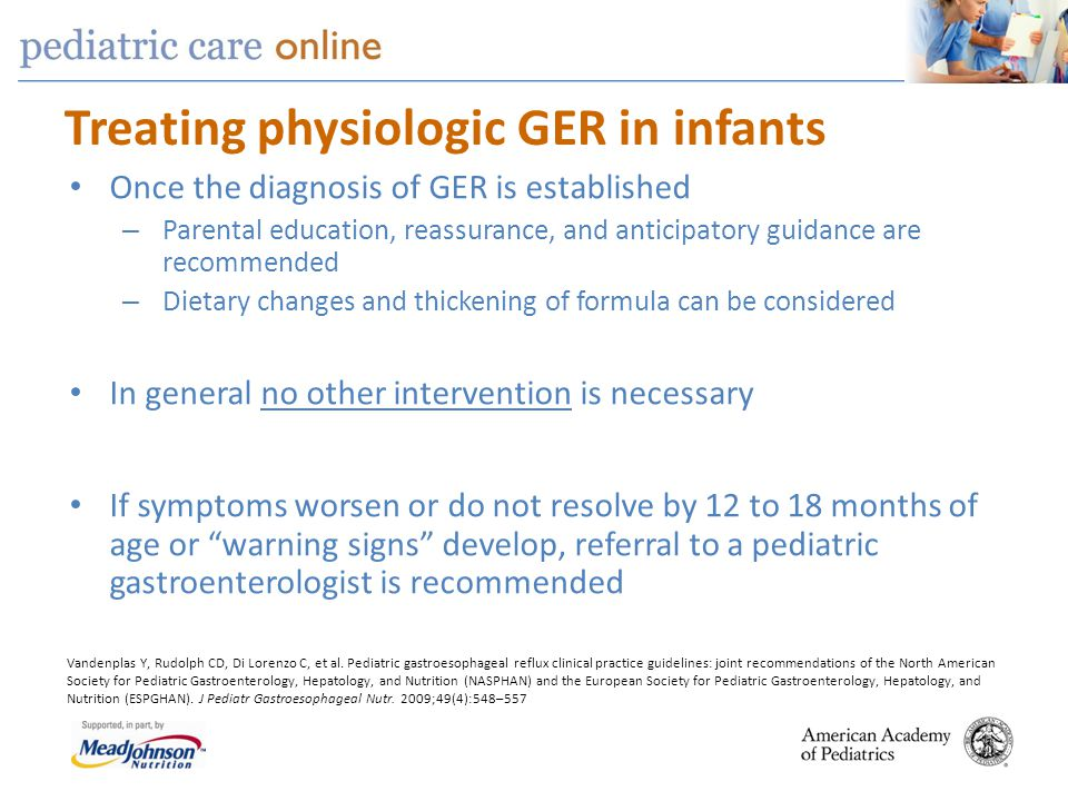 Treating physiologic GER in infants