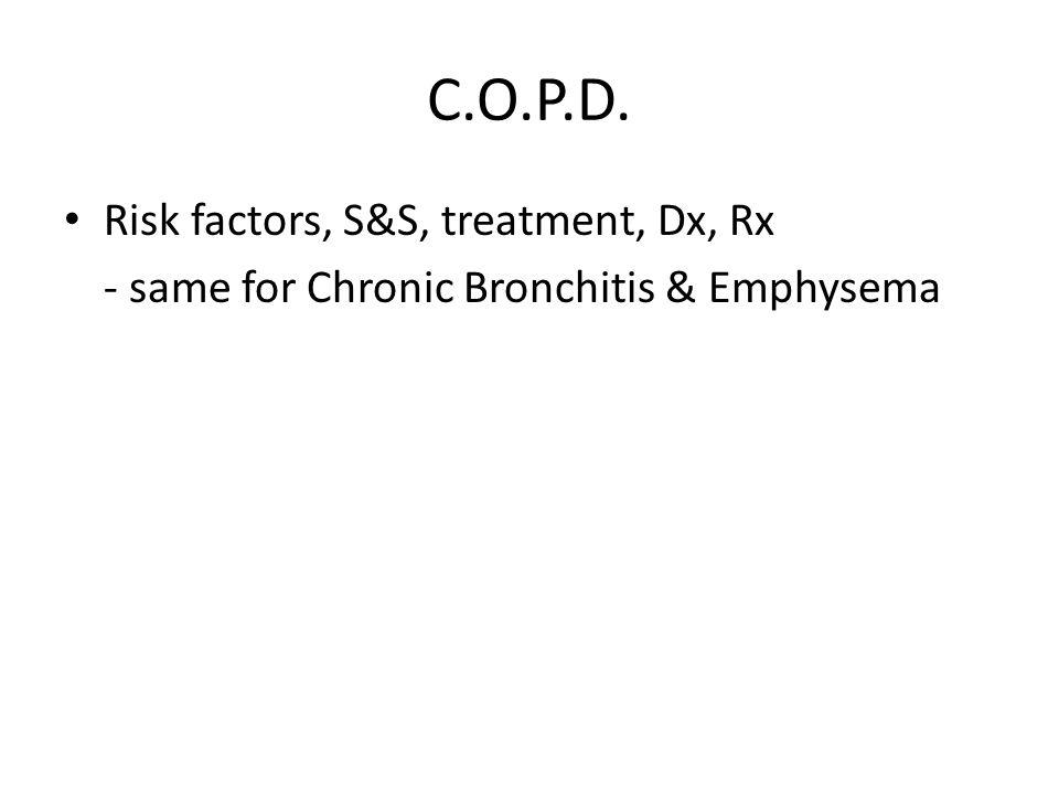 C.O.P.D. Risk factors, S&S, treatment, Dx, Rx
