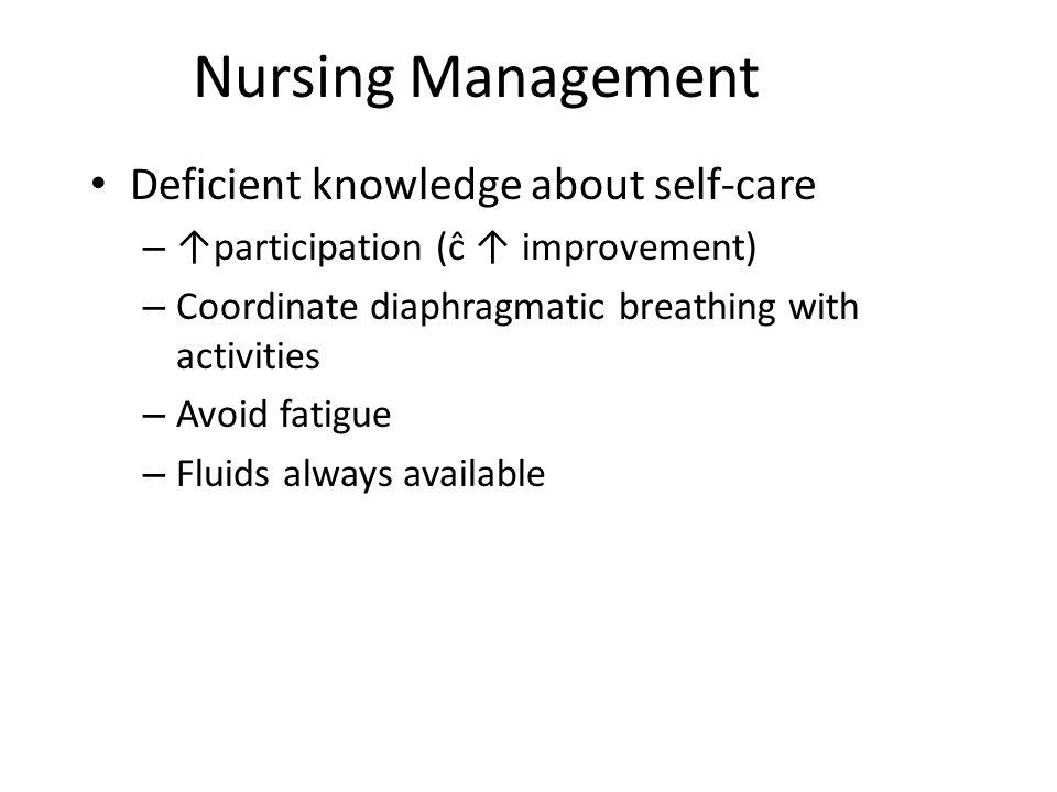 Nursing Management Deficient knowledge about self-care