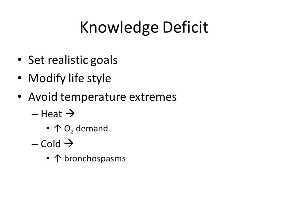 Knowledge Deficit Set realistic goals Modify life style