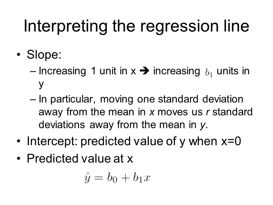 Interpreting the regression line