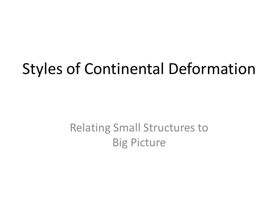 Styles of Continental Deformation