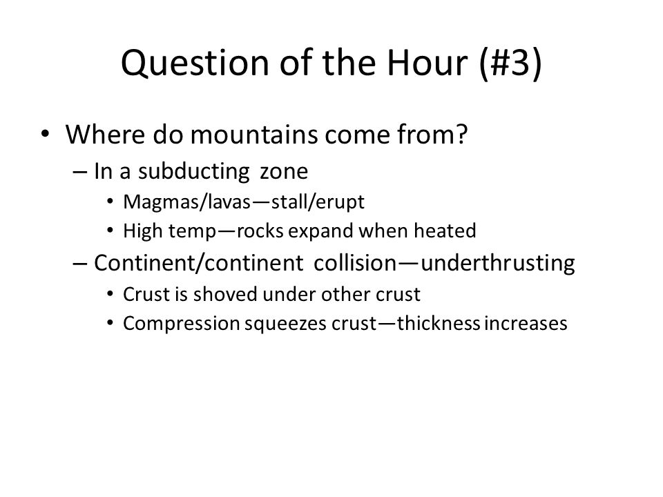 Question of the Hour (#3)