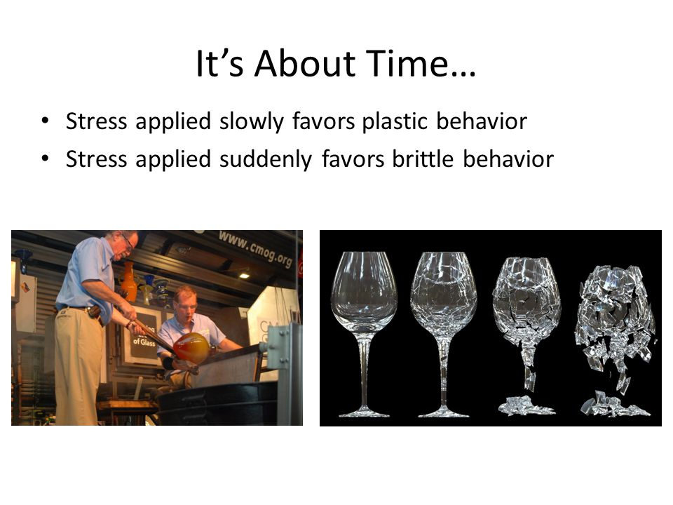 It's About Time… Stress applied slowly favors plastic behavior