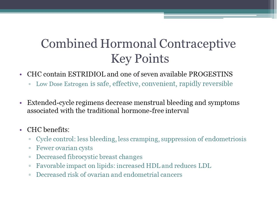 Combined Hormonal Contraceptive Key Points