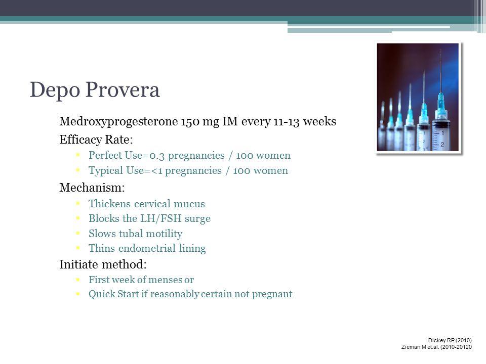 Depo Provera Medroxyprogesterone 150 mg IM every 11-13 weeks
