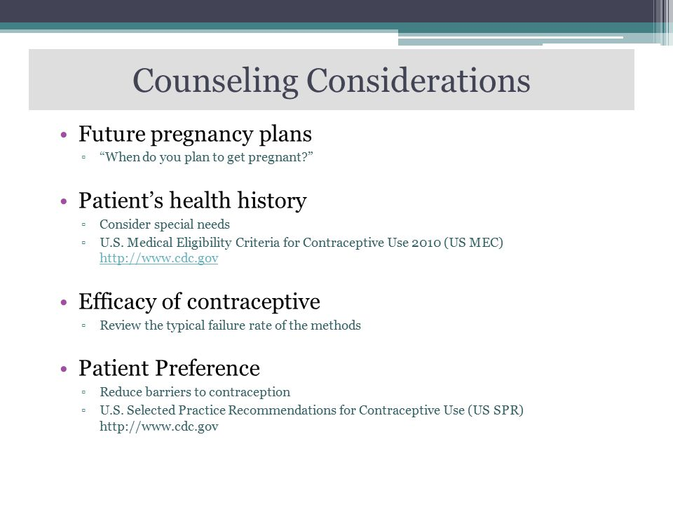 Counseling Considerations
