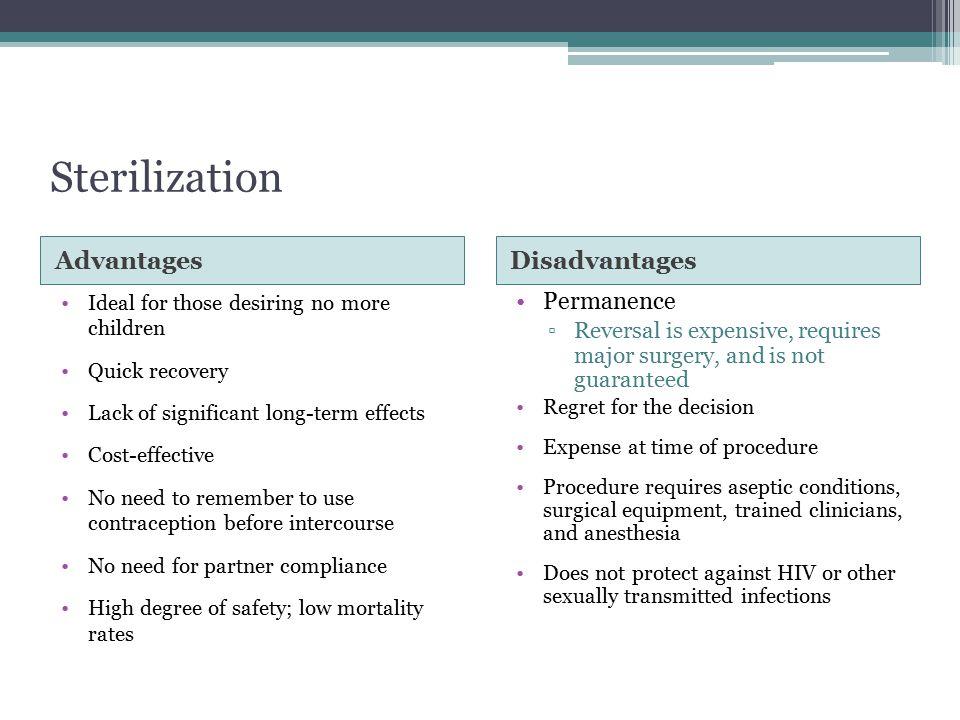 Sterilization Advantages Disadvantages Permanence