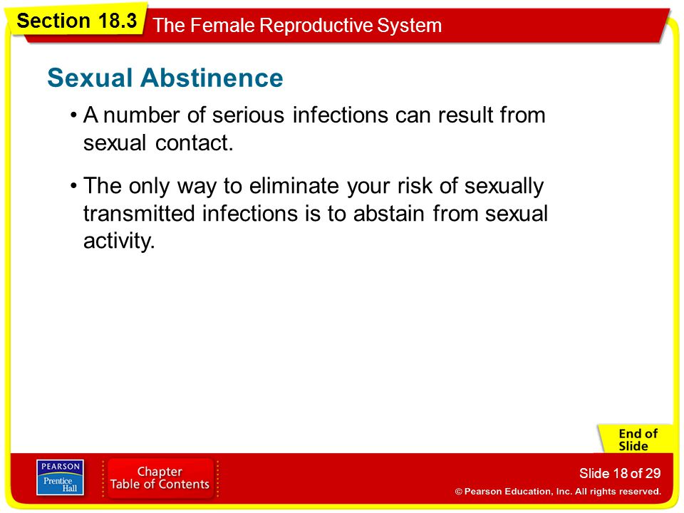 Sexual Abstinence A number of serious infections can result from sexual contact.