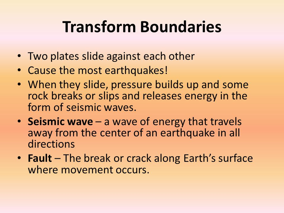 Transform Boundaries Two plates slide against each other