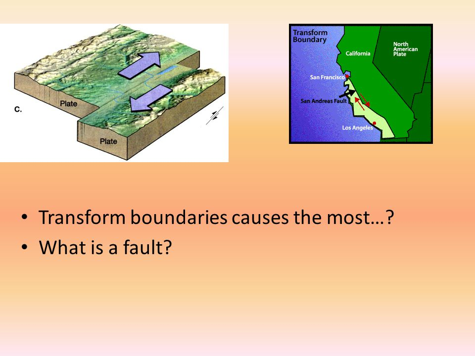 Transform boundaries causes the most…