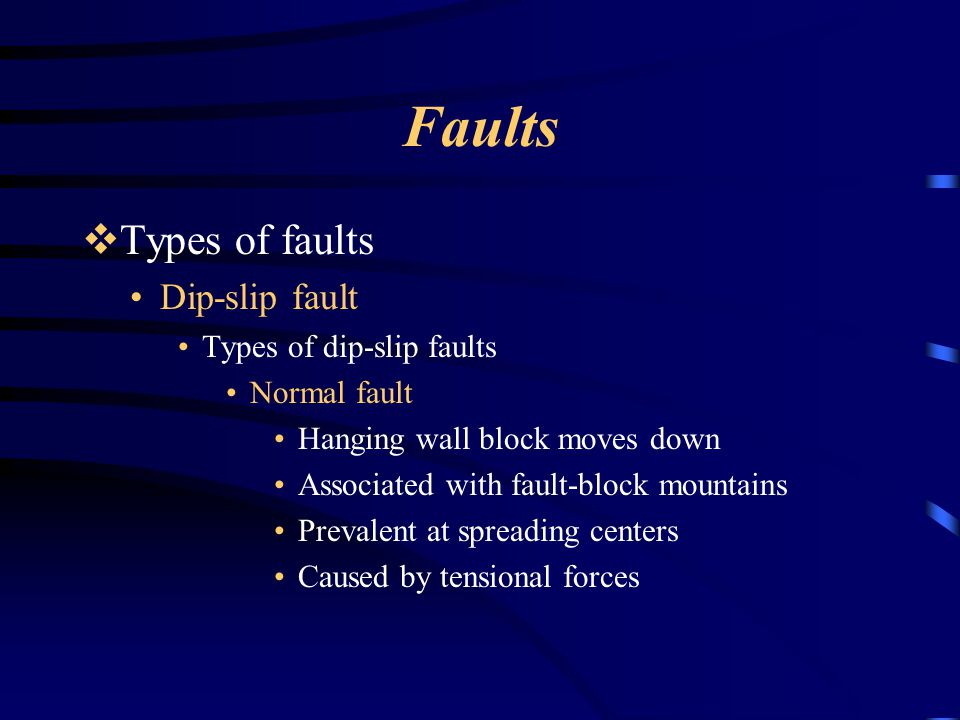 Faults Types of faults Dip-slip fault Types of dip-slip faults