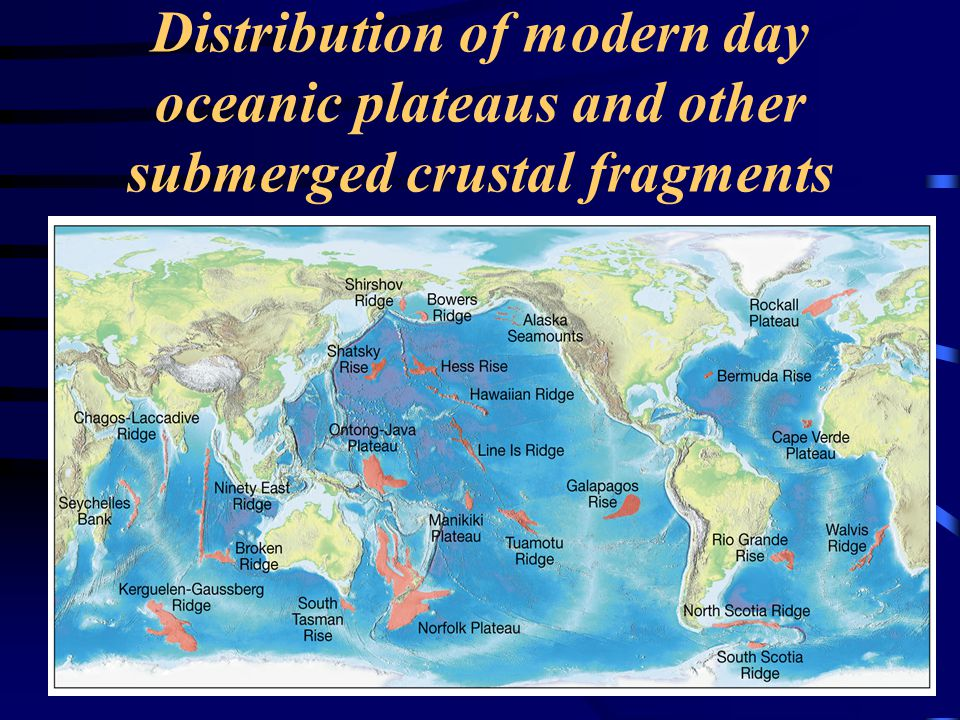 Distribution of modern day oceanic plateaus and other submerged crustal fragments