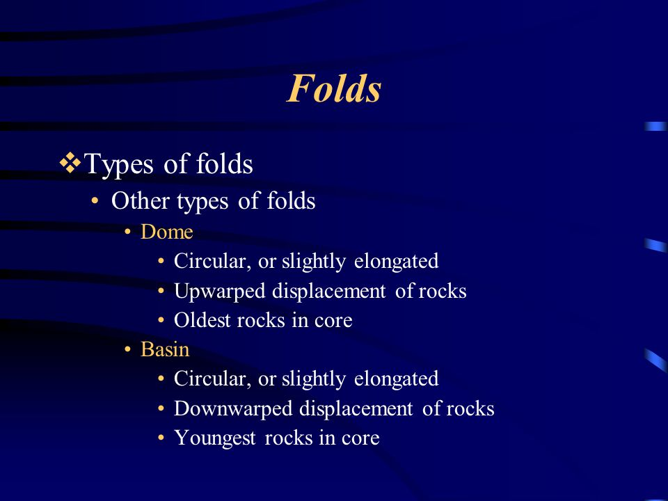 Folds Types of folds Other types of folds Dome