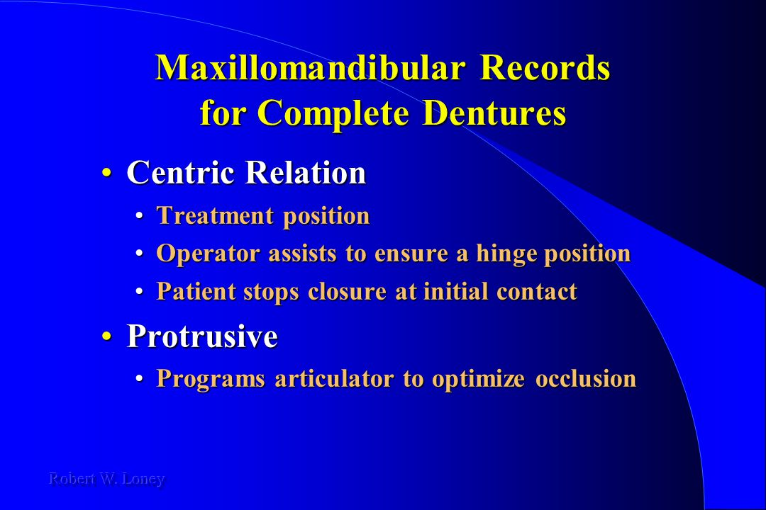 Maxillomandibular Records for Complete Dentures