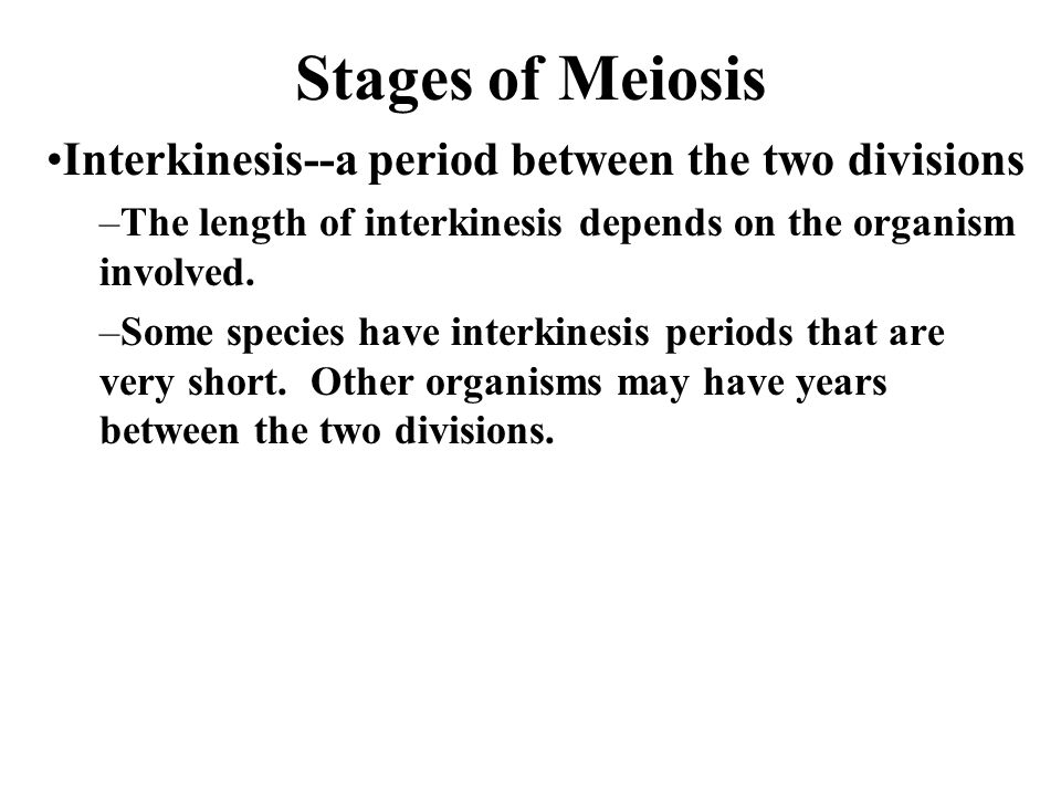 Stages of Meiosis Interkinesis--a period between the two divisions