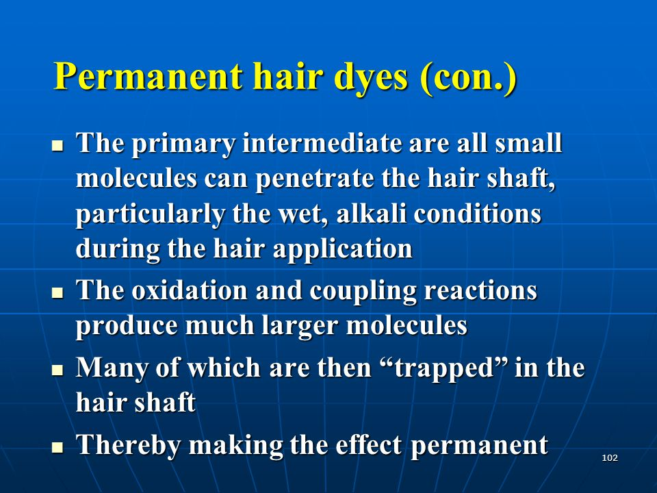 Permanent hair dyes (con.)
