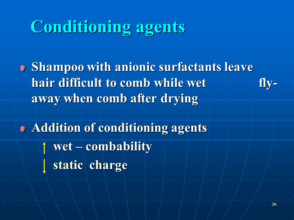 Conditioning agents Shampoo with anionic surfactants leave hair difficult to comb while wet fly-away when comb after drying.