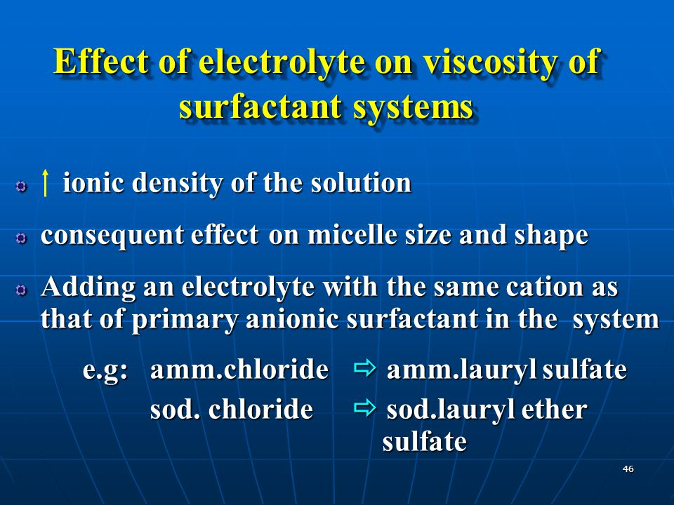 Effect of electrolyte on viscosity of surfactant systems