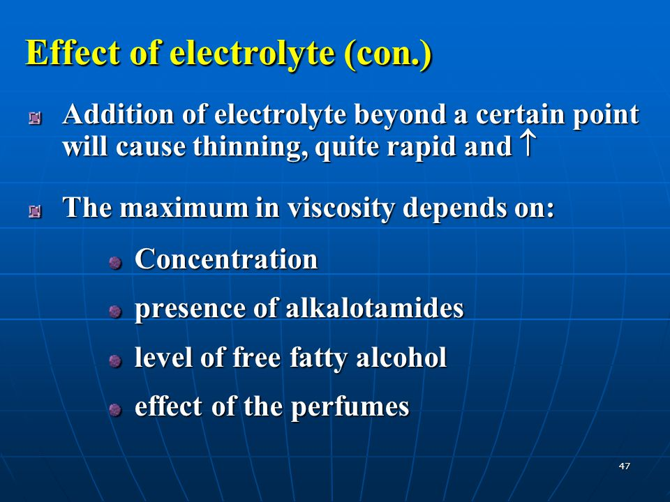 Effect of electrolyte (con.)